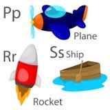 O ilustrador para veículos ajustou 3 com plano, navio e foguete ilustração royalty free