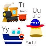 O ilustrador para veículos ajustou 4 com trem, UFO e iate Imagem de Stock