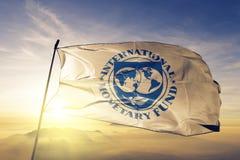 O IMF do fundo monetário internacional embandeira a tela de pano de matéria têxtil que acena na névoa superior da névoa do nascer foto de stock royalty free