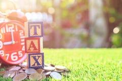 O IMPOSTO escreve na caixa de madeira do alfabeto da cor na pilha de moeda do baht tailandês Fotos de Stock Royalty Free