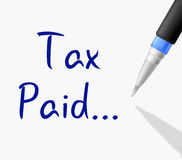 O imposto pago mostra Bill Receipt And Duty Imagens de Stock