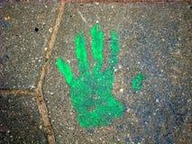 O imprint de suas mãos na telha Fotos de Stock Royalty Free