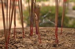 O incenso foi plantado em uns potenciômetros Foto de Stock Royalty Free
