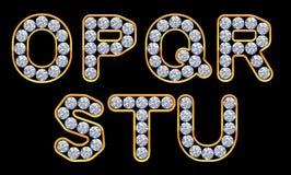 O - incrusted de u- brieven met diamanten Stock Foto