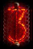 O indicador real do tubo de Nixie dos números de estilo retro foto de stock royalty free