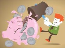 O indivíduo corporativo decide quebrar seu banco piggy. Imagem de Stock