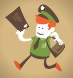 O indivíduo corporativo retro entrega o correio. Imagens de Stock