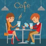 O indivíduo e a menina estão sentando-se em um café Vector a ilustração do menu do molde, do folheto, do café dos insetos ou do r ilustração do vetor