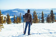 O indivíduo está nas montanhas no inverno fotos de stock royalty free