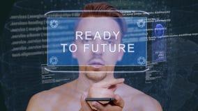 O indivíduo interage holograma de HUD pronto ao futuro filme