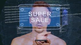 O indivíduo interage venda super do holograma de HUD video estoque