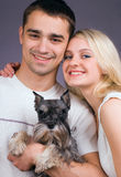 O indivíduo, a menina e o cão Foto de Stock Royalty Free