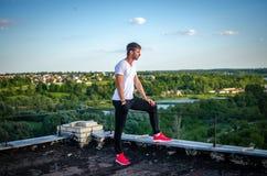 O indivíduo no telhado Imagens de Stock