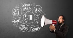 O indivíduo no terno que grita no megafone e no discurso tirado mão borbulha Foto de Stock
