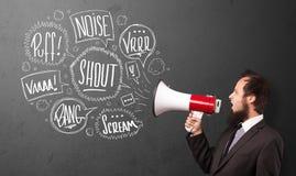 O indivíduo no terno que grita no megafone e no discurso tirado mão borbulha Imagem de Stock