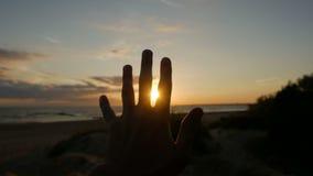 O indivíduo olha a mão e os dedos vídeos de arquivo