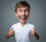 O indivíduo principal grande faz emoções loucas da cara Fotos de Stock Royalty Free