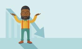 O indivíduo que aumenta seus braços com seta representa graficamente para baixo Fotografia de Stock