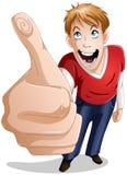 O indivíduo sorri com polegares acima Fotografia de Stock Royalty Free
