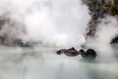 O inferno branco da lagoa de Shiraike Jigoku é uma das atrações turísticas que representam os vários infernos em Beppu Onsen, Oit fotos de stock