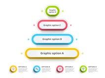 O infographics da carta de processo da etapa da pirâmide 4 com opção circunda f Foto de Stock