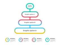 O infographics da carta de processo da etapa da pirâmide 4 com opção circunda f Fotos de Stock Royalty Free