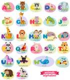 O inglês bonito ilustrou o alfabeto do jardim zoológico com o animal bonito dos desenhos animados imagem de stock