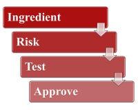 O ingrediente aprova o processo com gestão de riscos e testes Foto de Stock