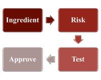 O ingrediente aprova o processo com gestão de riscos e testes Imagem de Stock