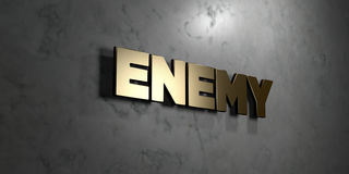 O inimigo - sinal do ouro montado na parede de mármore lustrosa - 3D rendeu a ilustração conservada em estoque livre dos direitos ilustração stock