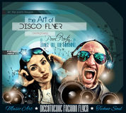 O inseto do disco do clube ajustou-se com DJs e fundos coloridos ilustração stock