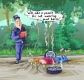 O inspetor da estrada escreve uma multa para o cinto de segurança desatado ilustração do vetor