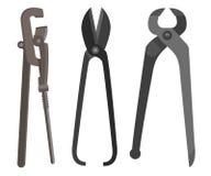 O instrumento para a chave inglesa difícil do trabalho scissors quelas horizontalmente Imagens de Stock