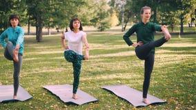 O instrutor profissional da ioga está ensinando estudantes fazer o exercício de equilíbrio, o professor for falador e mostrando a video estoque