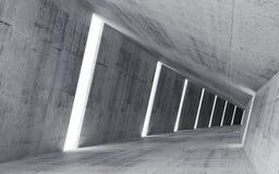 O interior concreto abstrato vazio, 3d rende Fotografia de Stock