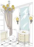 O interior contemporâneo rabisca o banheiro Ilustração Royalty Free