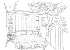 O interior contemporâneo rabisca o quarto Ilustração do Vetor
