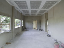 O interior da casa da estrutura de construção Foto de Stock Royalty Free