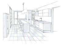 O interior da cozinha Imagens de Stock Royalty Free