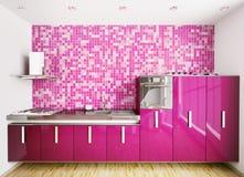 O interior da cozinha moderna 3d rende ilustração stock
