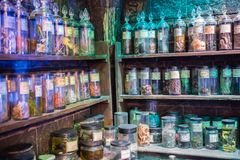 O interior da mágica do professor Snape entalha a coleção Decoração Warner Brothers Studio para o filmStudio de Harry Potter Foto de Stock