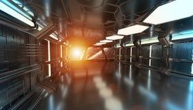O interior da nave espacial com vista no sistema distante 3D dos planetas rende Fotos de Stock