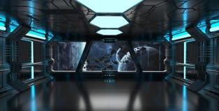O interior da nave espacial com vista no sistema distante 3D dos planetas rende Fotos de Stock Royalty Free