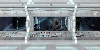 O interior da nave espacial com vista no sistema distante 3D dos planetas rende Foto de Stock