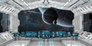 O interior da nave espacial com vista no sistema distante 3D dos planetas rende Fotografia de Stock Royalty Free