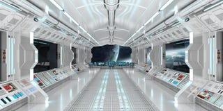 O interior da nave espacial com vista no sistema distante 3D dos planetas rende Imagem de Stock