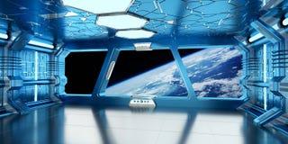 O interior da nave espacial com vista no sistema distante 3D dos planetas rende Fotografia de Stock