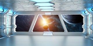 O interior da nave espacial com vista no sistema distante 3D dos planetas rende Imagens de Stock Royalty Free
