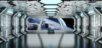 O interior da nave espacial com vista no sistema distante 3D dos planetas rende Imagens de Stock