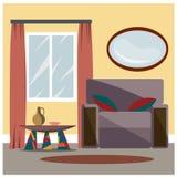 O interior da sala é fornecido Desenho do vetor Imagem de Stock